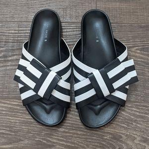 Zara Striped Black White Bow Slide Sandal 39
